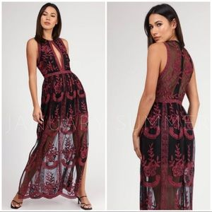 //OVERSTOCK SPECIAL//RED BLACK LACE MAXI DRESS